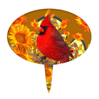 red cardinal bird cake topper