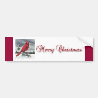 Red Cardinal Bird Christmas Bumper Sticker