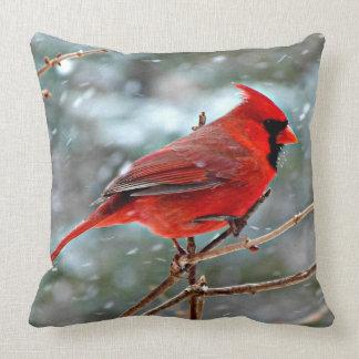 Red Cardinal bird, cold winter day Throw Pillow