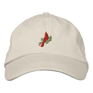 Red cardinal bird embroidered women's hat embroidered hat