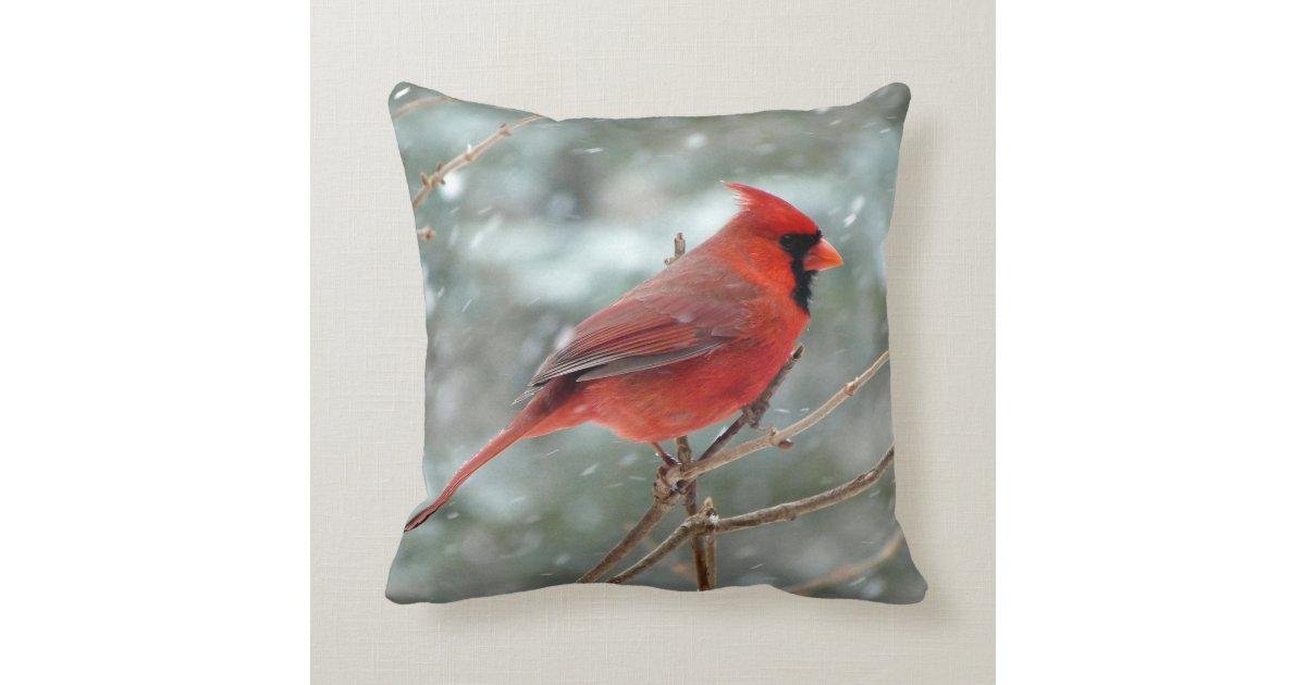 Cardinal Bird Throw Pillows : Red Cardinal Bird Home Decor Accent Throw Pillow Zazzle
