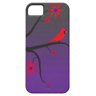 Red Cardinal bird in a tree on purple background. iPhone SE/5/5s Case