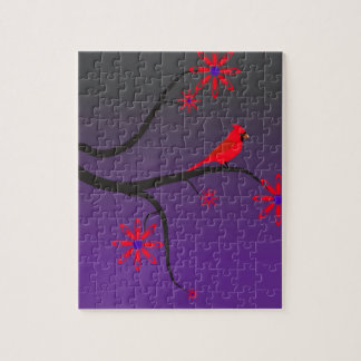 Red Cardinal bird in a tree on purple background. Jigsaw Puzzle