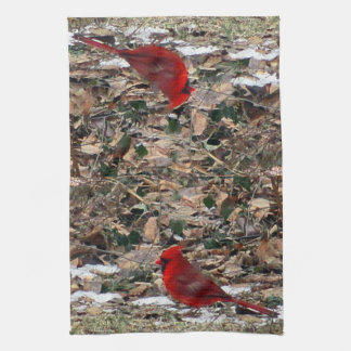 Red Cardinal Bird in Leaves Kitchen Towel