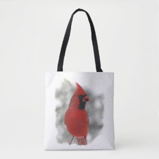 Red Cardinal Bird in Winter Snow Animal Tote Bag