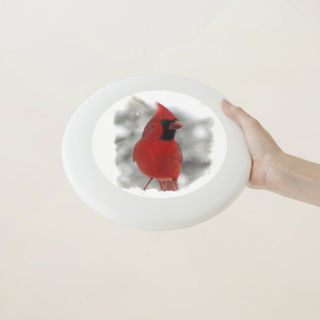 Red Cardinal Bird in Winter Snow Frisbee