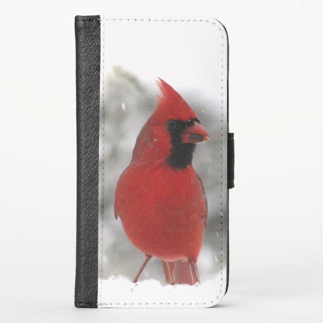Red Cardinal Bird iPhone X Wallet Case