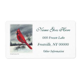 Red Cardinal Bird Left Label