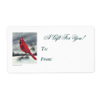 Red Cardinal Bird Left Side Label