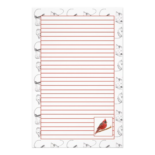 Red Cardinal Bird Lined Stationery Paper  Lined Stationary Paper