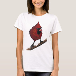 Red Cardinal: Bird: Oil Pastel Artwork T-Shirt