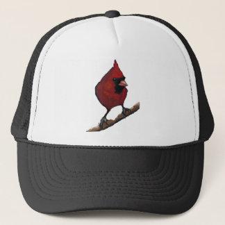 Red Cardinal: Bird: Oil Pastel Artwork Trucker Hat