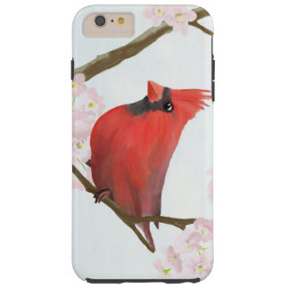 Red Cardinal Bird on a Cherry Blossom Tree Tough iPhone 6 Plus Case