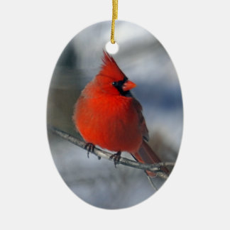 Red Cardinal Bird Double-Sided Oval Ceramic Christmas Ornament