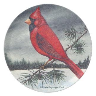 Red Cardinal Bird Painting Plate