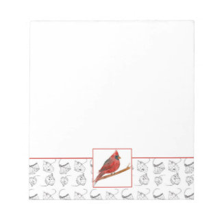 Red Cardinal Bird Pen and Ink Leaves Notepad