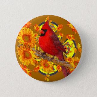 red cardinal bird pinback button
