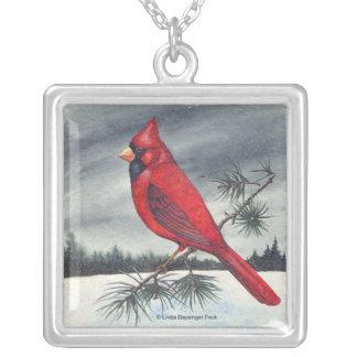 Red Cardinal Bird Pine Square Pendant Necklace