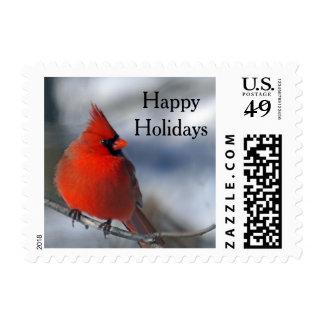 Red Cardinal Bird Postage Stamp