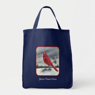 Red Cardinal Bird Red Border Tote Bag