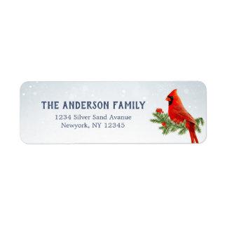 Red Cardinal Bird Return Address Labels
