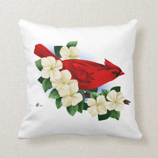 Cardinal Bird Throw Pillows : Red Cardinal Bird Throw Pillow Zazzle