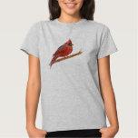 Red Cardinal Bird Watercolor Painting Tee Shirt
