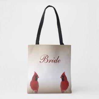 Red Cardinal Bird Wedding Bridal Tote Bag