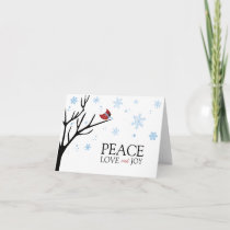 Red Cardinal Bird Winter Snowflake | Holiday
