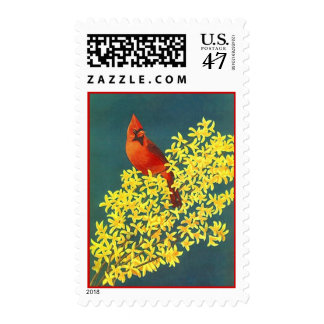 RED CARDINAL BIRD YELLOW FORSYTHIA FLOWERS STAMPS! POSTAGE