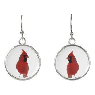 Red Cardinal Birds Animal Drop Earrings