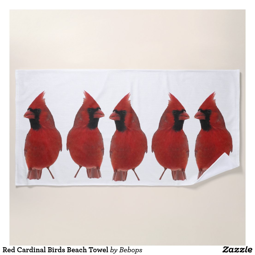 Red Cardinal Birds Beach Towel
