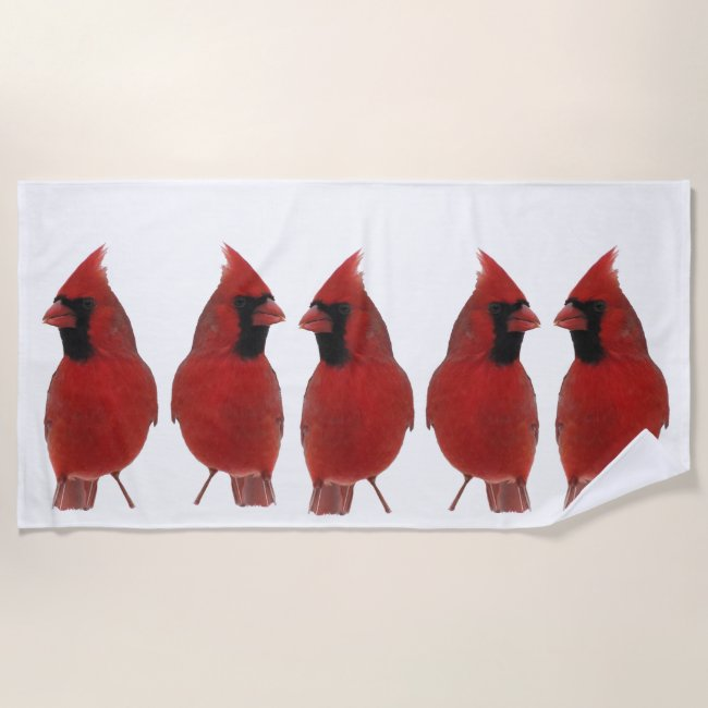 Red Cardinal Birds Beach Towel
