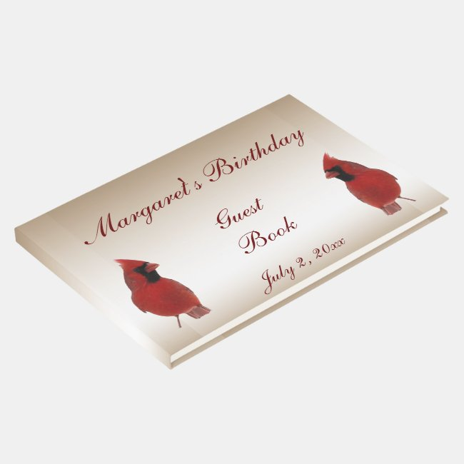 Red Cardinal Birds Birthday Party Guest Book