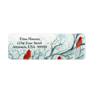 Red Cardinal Birds in Winter Trees Label