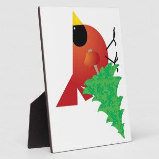 Red Cardinal Carrying Christmas Tree Plaques