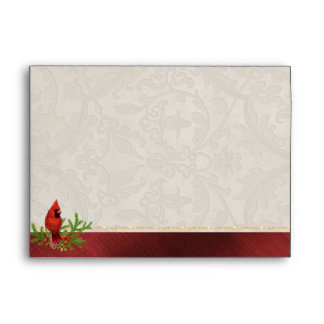 Red Cardinal Christmas Envelope