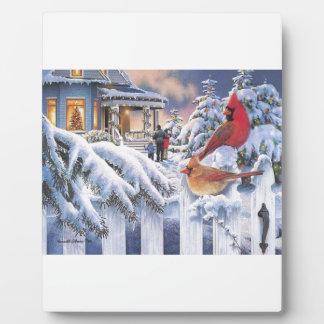 Red Cardinal Christmas Display Plaques