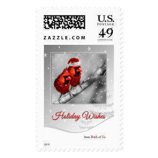Red Cardinal Couple | Snow Winter Holiday Postage