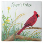 "Red Cardinal - Customizable Tile<br><div class=""desc"">The image of a bright red cardinal on this tile is taken from an original watercolor painting. This tile can be personalized for yourself or someone as a gift.</div>"