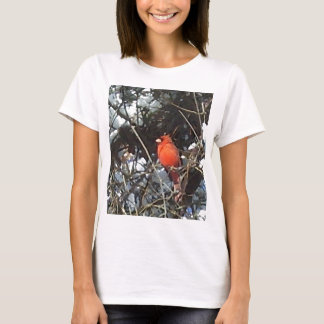 Red Cardinal in Snow Laden Trees Photo Art T-Shirt