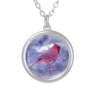 Red Cardinal in the Blizzard Round Pendant Necklace