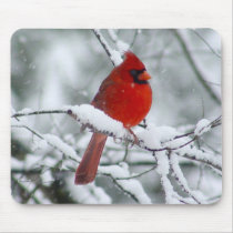 Red Cardinal in the Snow Mousepad