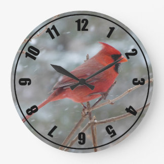 Red cardinal in Winter Large Clock
