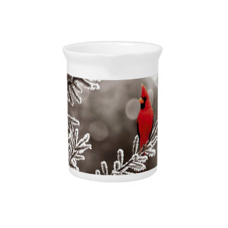 Red Cardinal in Winter Pitcher