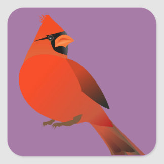 Red Cardinal Male Bird Square Sticker