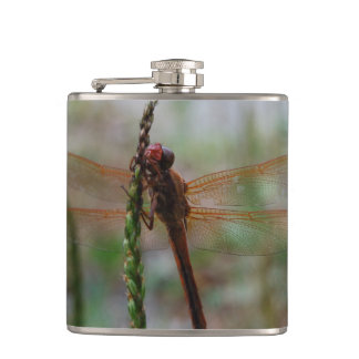 Red Cardinal Meadowhawk Dragonfly Hip Flask