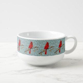 Red Cardinal Mosaic Soup Mug