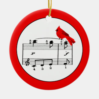 Red Cardinal & Music Christmas Ornament