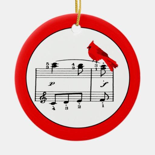 Red Cardinal & Music Christmas Ornament